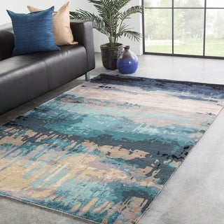 Ilsted Handmade Abstract Blue/ Gray Area Rug - 9' x 13'