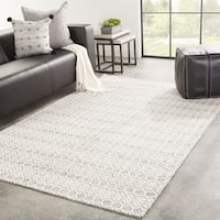 Juniper Home Railay Handmade Trellis White/Grey Wool Area Rug (7'10 x 9'10)