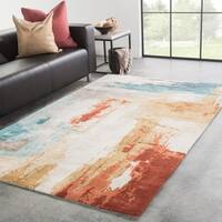 Juniper Home Evergood Blue/Red Wool and Viscose Handmade Abstract Area Rug - 8' x 11'