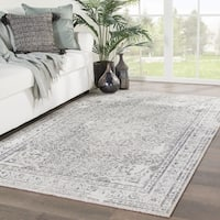 "Lindale Indoor/ Outdoor Medallion Gray/ Blue Area Rug - 7'6"" x 9'6"""
