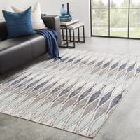 Porch & Den Hillman Grey/ Blue Geometric Indoor/ Outdoor Area Rug - 7'6 x 9'6