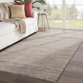 Fielding Handmade Solid Brown/ Ivory Area Rug - 2' x 3'