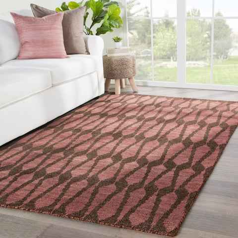 Asante Hand-Knotted Geometric Purple/ Brown Area Rug - 2' x 3'