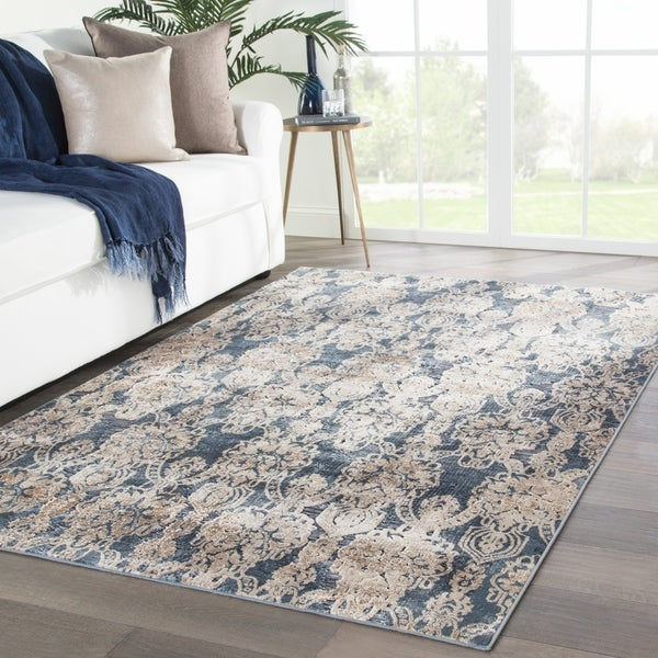 Shop Musgrove Damask Blue Beige Area Rug 8 X 10 On