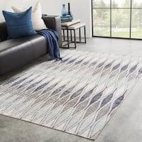 Hertford Indoor/ Outdoor Geometric Gray/ Blue Area Rug - 2' x 3'