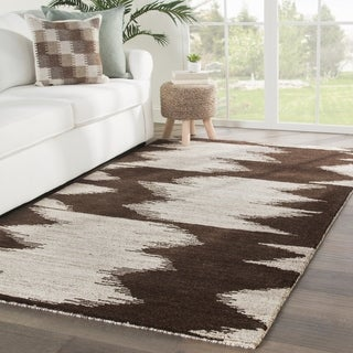 Gazette Hand-Knotted Geometric Dark Brown/ Ivory Area Rug - 2' x 3'