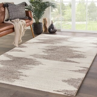 Gazette Hand-Knotted Geometric Ivory/ Light Brown Area Rug - 2' x 3'