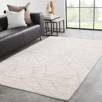Tovi Hand-Knotted Trellis Ivory/ Silver Area Rug - 5' x 8'