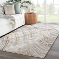 Cassatt Handmade Chevron Orange/ Gray Area Rug - 5' x 8'