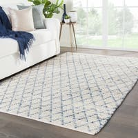Juniper Home Italo Natural Ivory/Blue Cotton and Jute Handmade Trellis Area Rug (5' x 8')