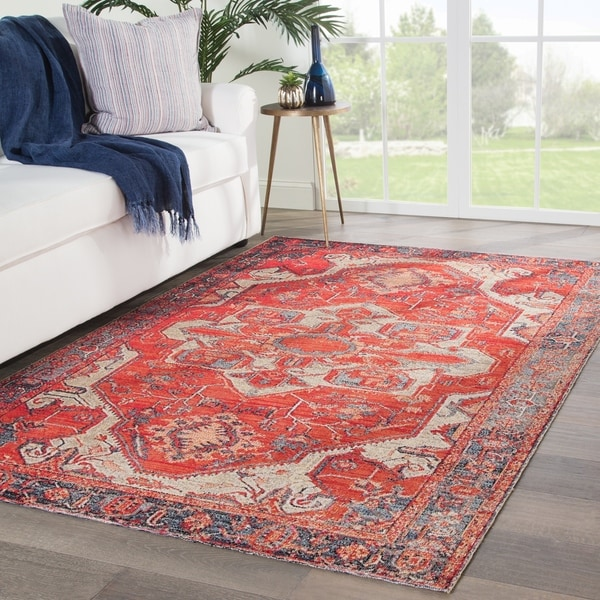 The Curated Nomad Howard Indoor/ Outdoor Medallion Red/ Blue Area Rug - 5' x 7'6 - 5' x 7'6""