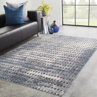Bosco Geometric Blue/ Beige Area Rug - 5' x 8'