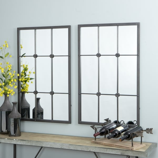 shop kinslee brown metal window pane wall mirror free shipping