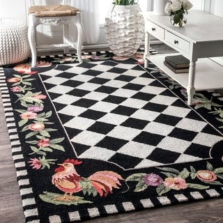 Hand-hooked Moroccan Rooster Checkered Wool Area Rug - 6' x 9'