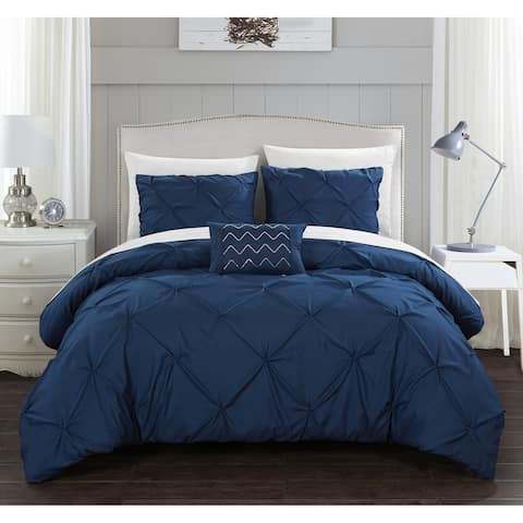 Chic Home Whitley 4 Piece Pinch Pleated Duvet Cover Set