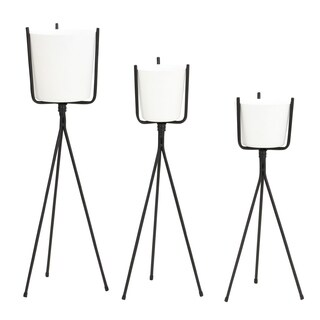 Meru Mid Century Planters - White (Set of 3)