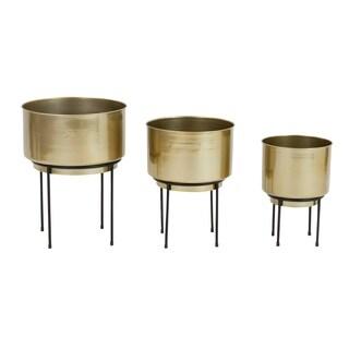 Arete Mid Century Gold Planters (Set of 3)