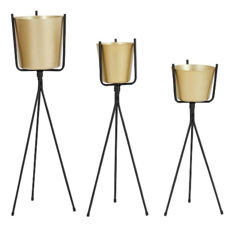 Meru Mid Century Planters - Gold (Set of 3)