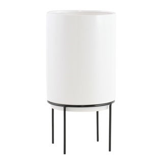 "Link to Jemina Mid Century Ceramic Planter - White - 14.5""H x 7.5""W x 7.5""D (Inside pot: 9.5""H x 6.5""W) Similar Items in Planters, Hangers & Stands"