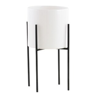 "Lonnie Mid Century Ceramic Planter - White 13""H"