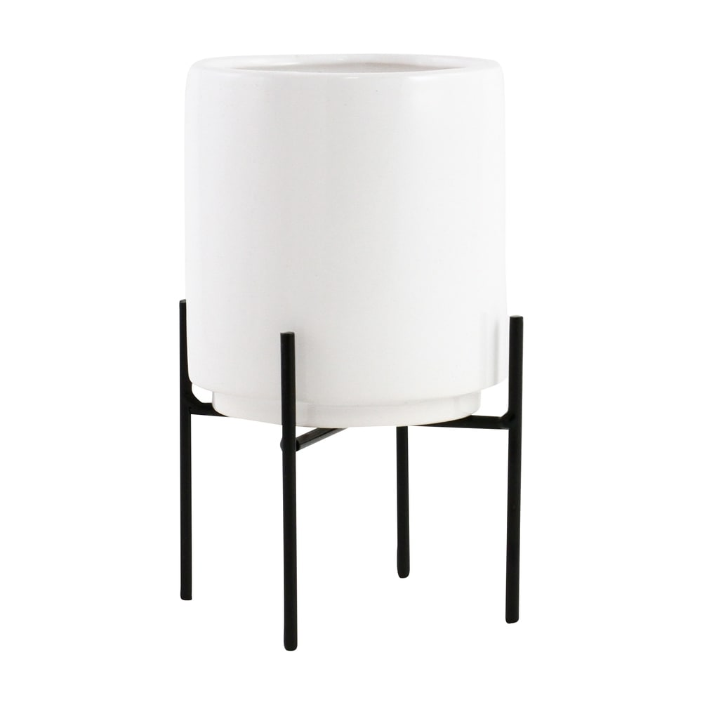 "Jodi Mid Century Table-top Planter - White - 7.5""H x 4.5""W x 4.5""D (Inside pot: 4.5""H x 3.75""W)"