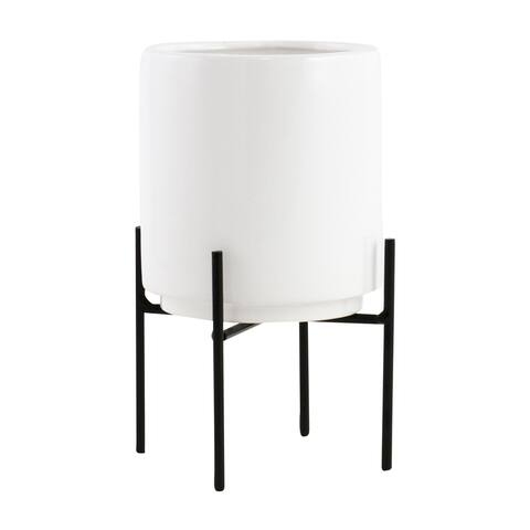 "Jodi Mid Century Table-top Planter - White - 7.5""H x 4.5""W x 4.5""D (Inside pot: 4.5""H x 3.75""W)"