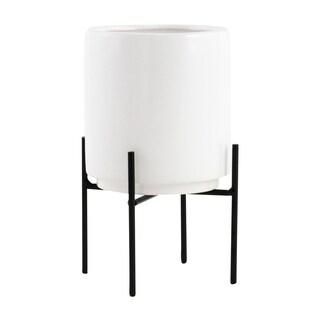 Jodi Mid Century Table-top Planter - White