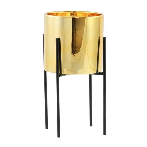 "Lonnie Mid Century Ceramic Planter - Gold 13""H - 13""H x 6.5""W x 6.5""D (Inside pot: 5.5""H x 6""W)"