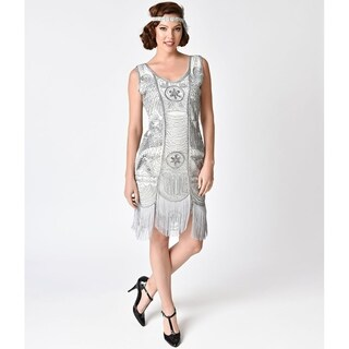 Unique Vintage Silver Beaded Fringe Camille Flapper Dress