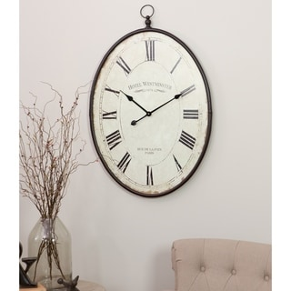 "Ines Large Oval Wall Clock - 36""H x 23.5""W x 1.5""D"