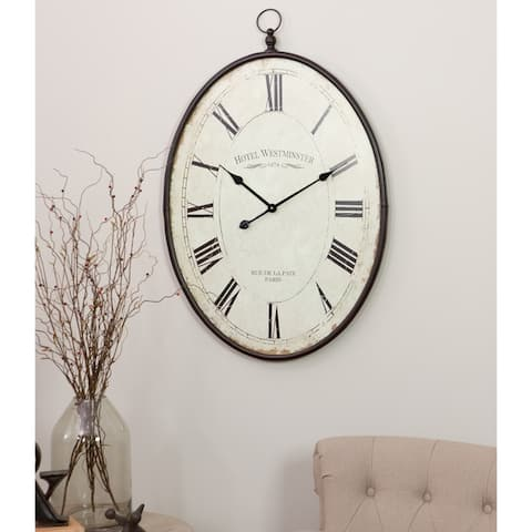 """Ines Large Oval Wall Clock - 36""""H x 23.5""""W x 1.5""""D"""