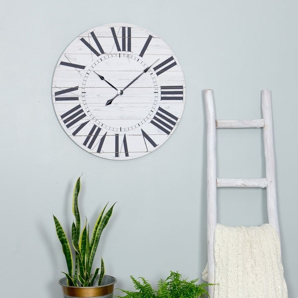 """Estelle French Country Wall Clock with Shiplap Face - 23""""H x 23""""W x 1.5""""D"""