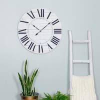 "Estelle French Country Wall Clock with Shiplap Face - 23""H x 23""W x 1.5""D"