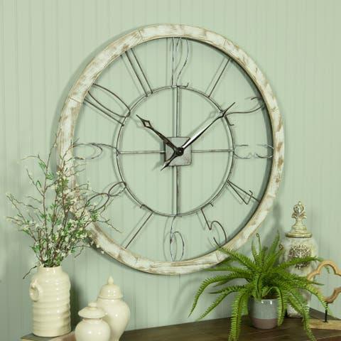 "Penelope Large Iron & Wood Wall Clock - 39""H x 39""W x 2.5""D"