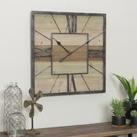 "Travis Wood & Metal Wall Clock - 23.5""H x 23.5""W x 2""D"
