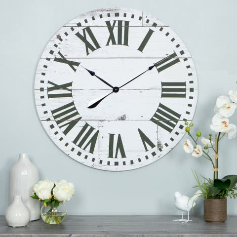 "Lisette French Country Wall Clock with Shiplap Face - 30""H x 30""W x 2""D"