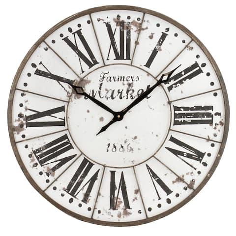 """Monroy Rustic Farmhouse Wall Clock - 24""""H x 24""""W x 2""""D"""