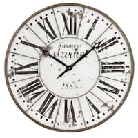 "Monroy Rustic Farmhouse Wall Clock - 24""H x 24""W x 2""D"