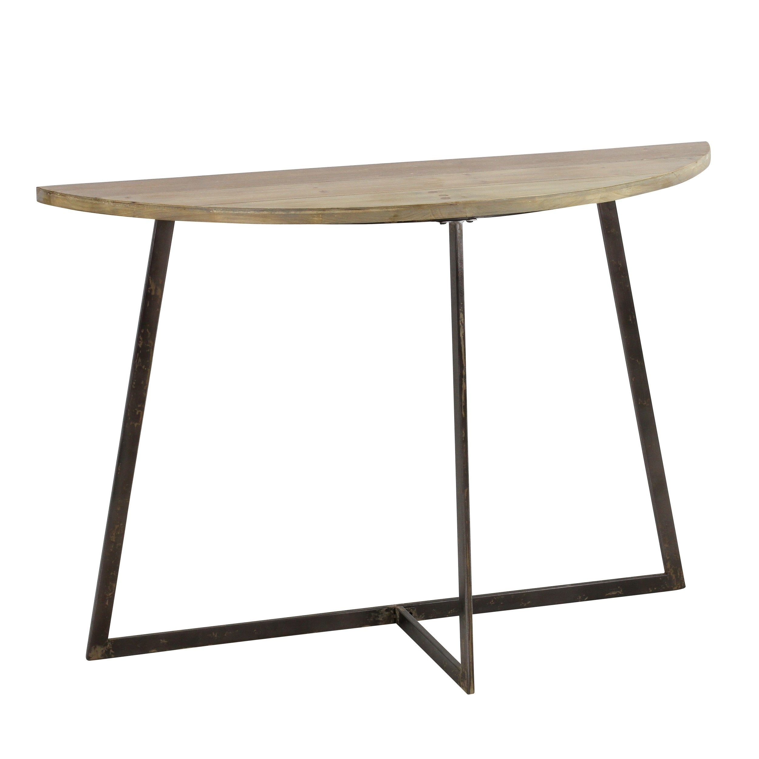 Marcus Brown Wood and Metal Half-moon Console Table