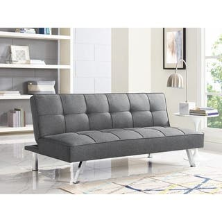 Serta Charlie Tufted Grey Upholstered Convertible Sofa