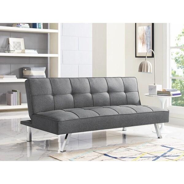 Serta Charlie Tufted Grey Upholstered Convertible Sofa