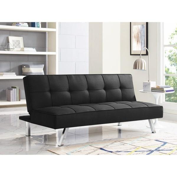 Shop Serta Charlie Black Convertible Sofa On Sale Free