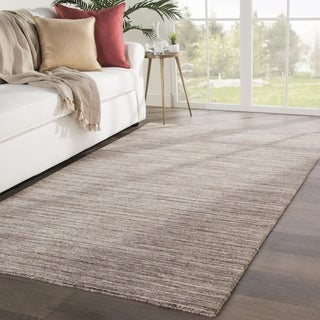 "Fielding Handmade Solid Brown/ Ivory Area Rug - 7'9"" x 9'9"""