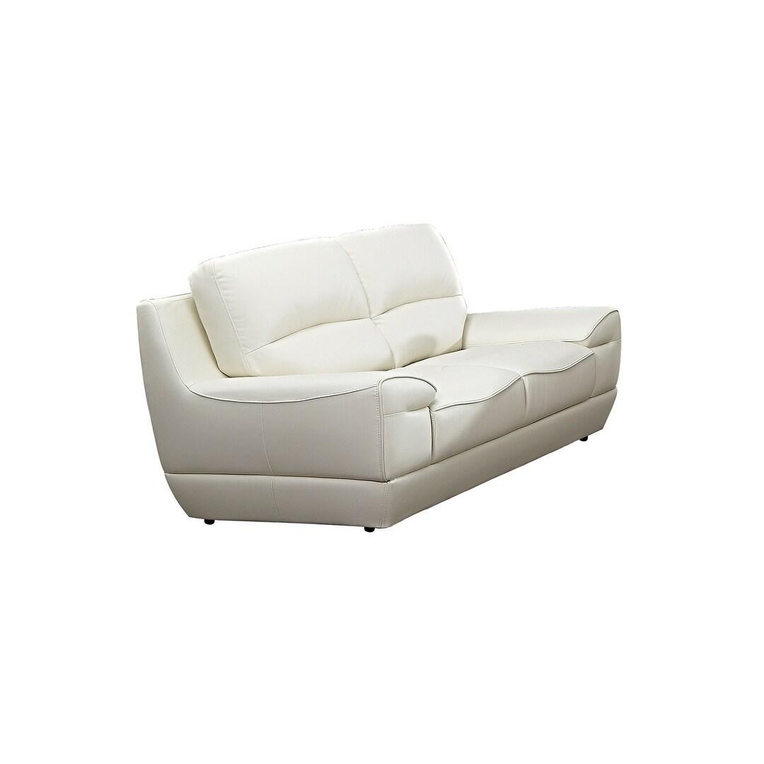 Modern Pillow Top White Italian Leather Loveseat (Cream)