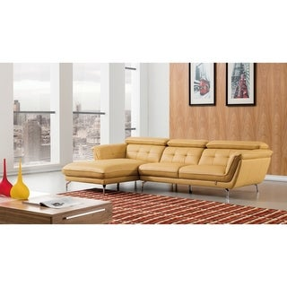 Modern Tufted Italian Leather Sectional (Sunflower - Left Facing)