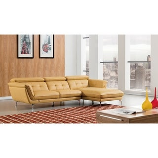 Modern Tufted Italian Leather Sectional (Sunflower - Right Facing)