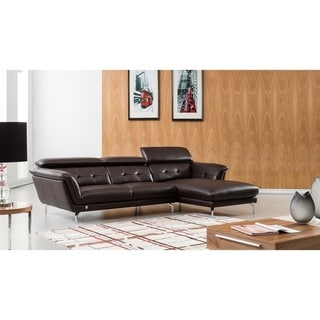 Modern Tufted Italian Leather Sectional (Camel - Right Facing)