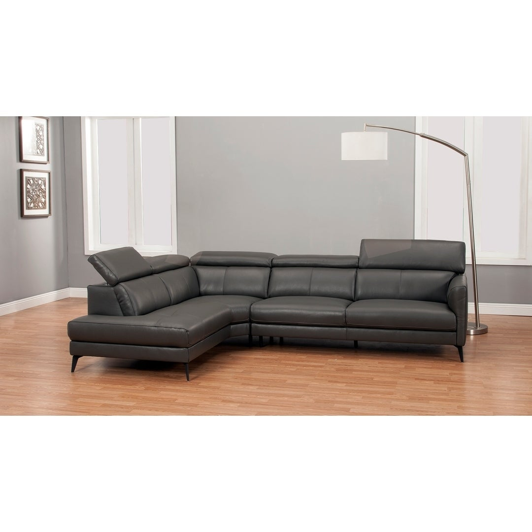 Modern Top-grain Full Leather Sectional (Grey - Left Facing)