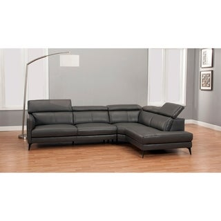 Modern Top-grain Full Leather Sectional (Light Grey - Right Facing)