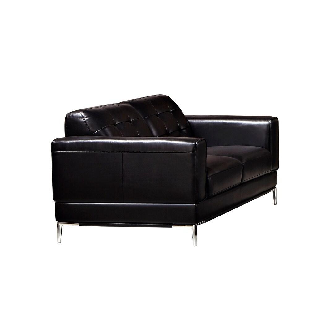 Modern Metal Leg Italian Leather Loveseat (Black)